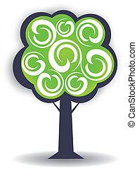 logotipo, stagione, disegno, albero, elemento