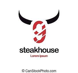 logotipo, steakhouse, disegno