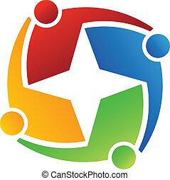 logotipo, stella 4, affari, design.