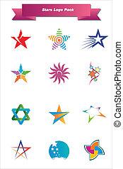 logotipo, stelle, pacco