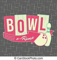 logotipo, stile, disegno, 1950s, bowling