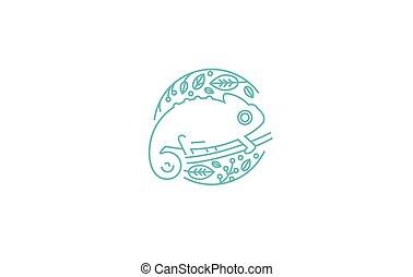 logotipo, stile, vettore, lineare, camaleonte