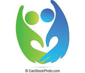 logotipo, stretta di mano, figure, affari