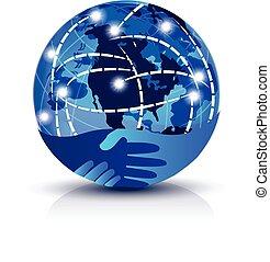 logotipo, stretta di mano, globale, internet