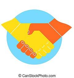 logotipo, stretta di mano, rapporto affari