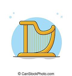 logotipo, strumento, arpa, orchestra., simbolo musica, illustrazione, vettore