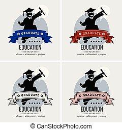 logotipo, studente, graduazione, design.