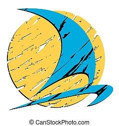 logotipo, sun., velejando