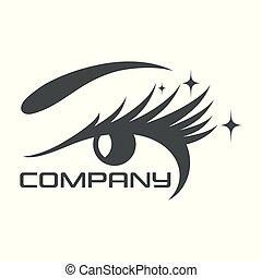 logotipo, supercílios, olho