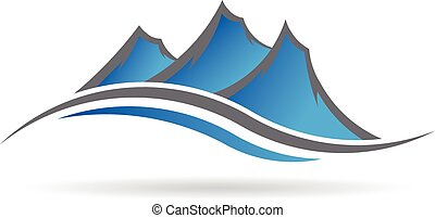 logotipo, swoosh, montanhas
