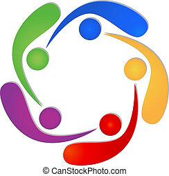 logotipo, swooshes, 5, trabalho equipe