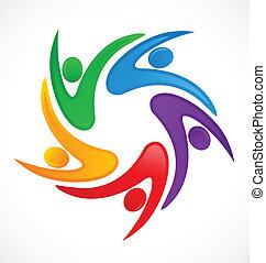 logotipo, swooshes, lavoro squadra