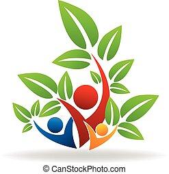 logotipo, swooshes, trabalho equipe, árvore, pessoas