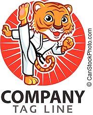 logotipo, taekwondo, tigre