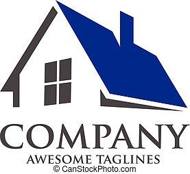 logotipo, techado, casa