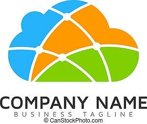 logotipo, tecnologia, desenho, nuvem, ícone