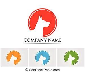 logotipo, template...., vetorial, silhuetas, cão