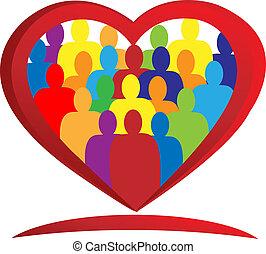 logotipo, temwork, persone, cuore