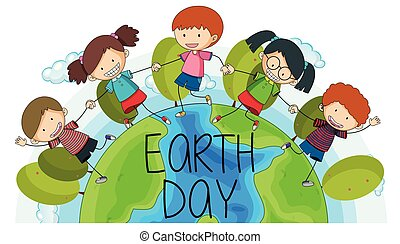 logotipo, terra, crianças, dia