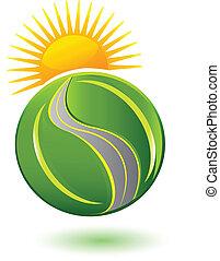 logotipo, terra, estrada, folheia, sol