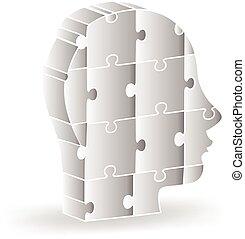 logotipo, testa, 3d, puzzle, persone