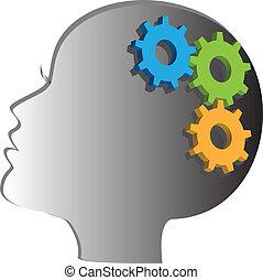 logotipo, testa, donna, ingranaggio