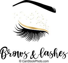 logotipo, testas, chicotadas, ouro