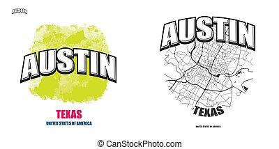 logotipo, texas, opere, austin, due