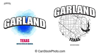 logotipo, texas, opere, due, ghirlanda