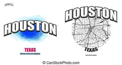 logotipo, texas, opere, due, houston