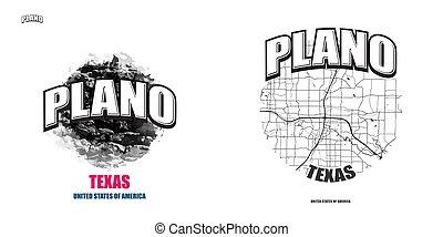 logotipo, texas, opere, due, plano