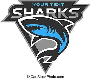 logotipo, tiburones, deporte, team.