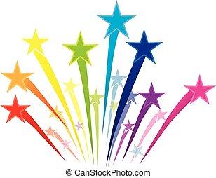 logotipo, tiroteio, coloridos, estrelas