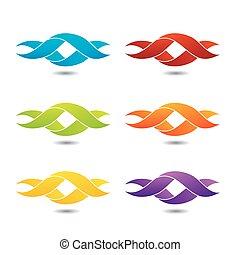 logotipo, torcido, ribbon-, resumen