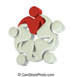 logotipo, trabajo en equipo, 3d, líder