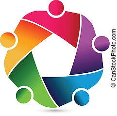 logotipo, trabajo en equipo, abrazar, empresa / negocio