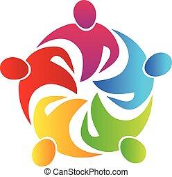 logotipo, trabajo en equipo, abrazo