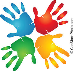 logotipo, trabajo en equipo, alrededor, colorido, manos