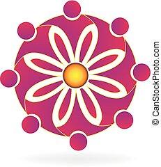 logotipo, trabajo en equipo, flor