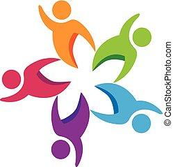 logotipo, trabajo en equipo, gente