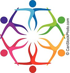 logotipo, trabajo en equipo, gente en a, abrazo