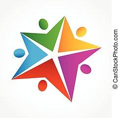 logotipo, trabajo en equipo
