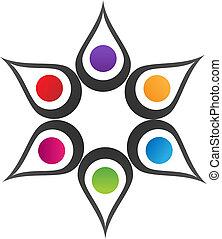 logotipo, trabajo en equipo, solución