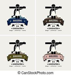 logotipo, trabalhador construção, design.