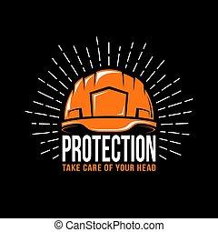 logotipo, trabalhando, capacete