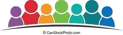 logotipo, trabalho equipe, 7 pessoas
