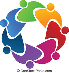 logotipo, trabalho equipe, abraçando, pessoas