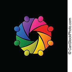 logotipo, trabalho equipe, abraçando