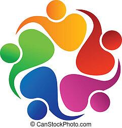 logotipo, trabalho equipe, amigável, pessoas
