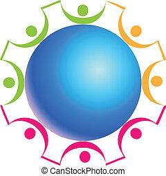 logotipo, trabalho equipe, ao redor